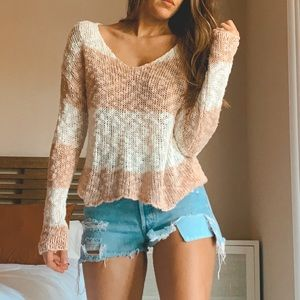Tops - Knitted pink and cream sweater.